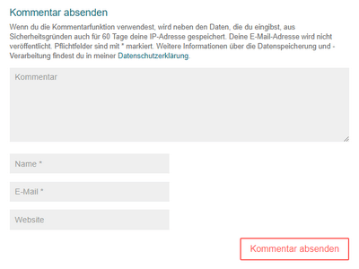 """Plugin """"Datenschutz-Hinweise für deine Kommentar-Funktion"""" 5 -"""