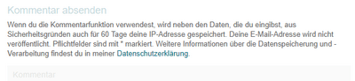 """Plugin """"Datenschutz-Hinweise für deine Kommentar-Funktion"""" 4 -"""
