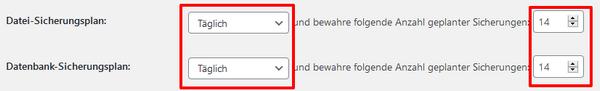 Screenshot: UpdraftPlus Backup-Plan