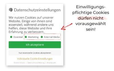 Cookies dürfen nicht vorausgewählt sein